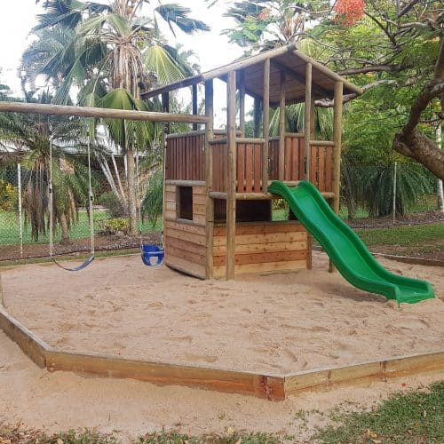 Grand Gazebos and Cubbies - Grand Double Decker Cubby with Slide and Climbing wall, swing, Sand pit