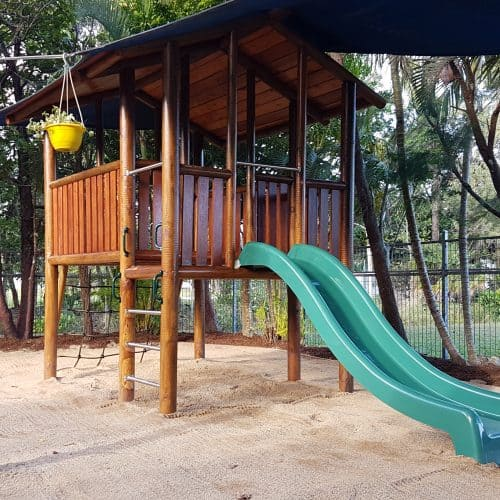 Grand Gazebos and Cubbies - Grand Cubby with Verandah, Slide and climbing Wall