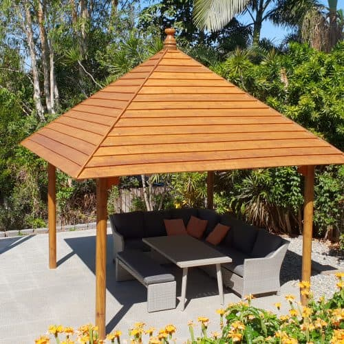 Grand Gazebos and Cubbies - 3.8m Hipped Pavilion on pavers and beside pool
