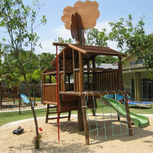 Grand Gazebos and Cubbies - Custom Tree House with slide and net 2