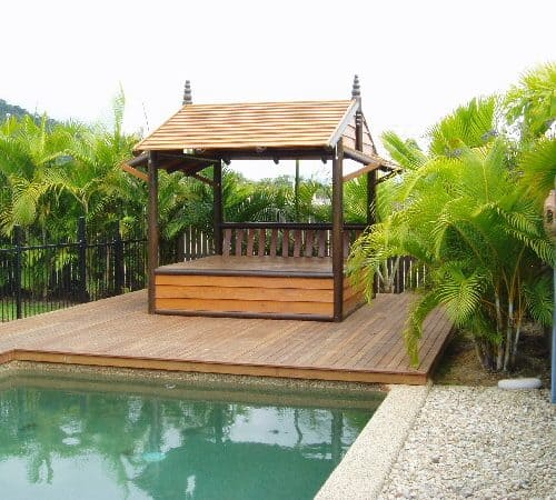 Grand Gazebos and Cubbies - Poolside Daybed with enclosed lower level on deck