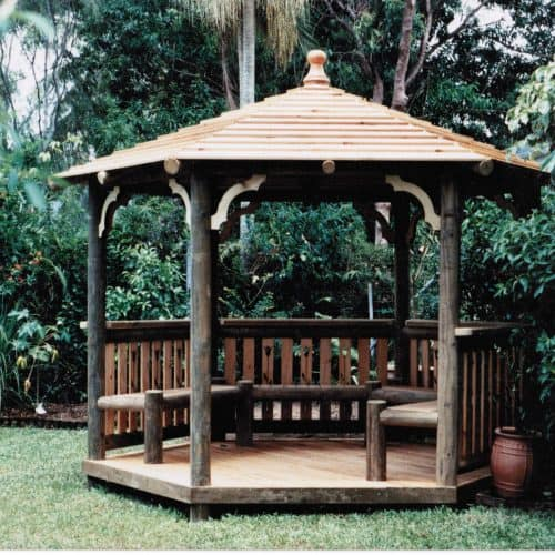Grand Gazebos and Cubbies - 3.6m Gazebo with Deck,Seats and Handrails