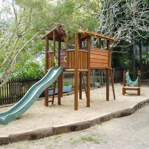 Grand Gazebos and Cubbies - Grand Cubby with Verandah, Slide and Climbing Net