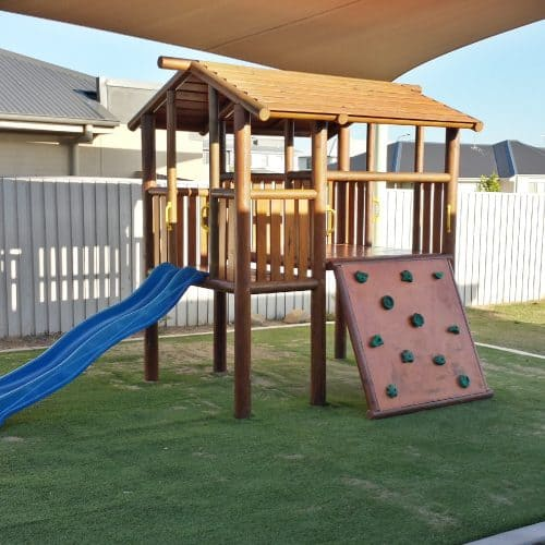 Grand Gazebos and Cubbies - Jedda Cubby with Verandah - added climbing wall and blue slide