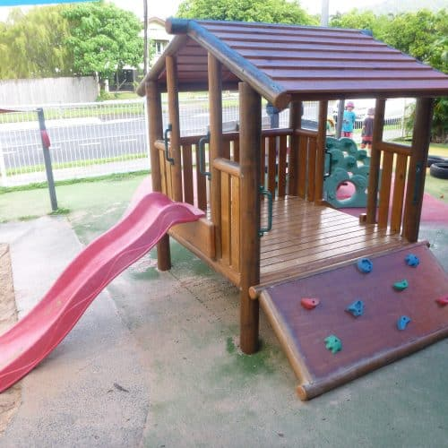 Grand Gazebos and Cubbies - Grand Cubby - with climbing wall and slide