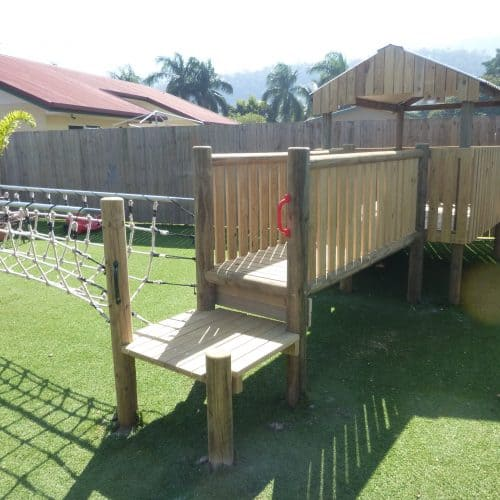 Grand Gazebos and Cubbies - upgrade of playground with malay bridge and timber bridge