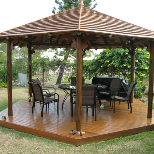 Grand Gazebos and Cubbies - 5.4m Gazebo with decks and lighting